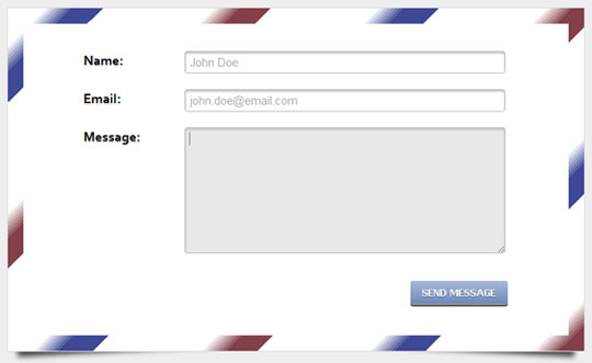HTML5 and CSS3 contact form on the envelope