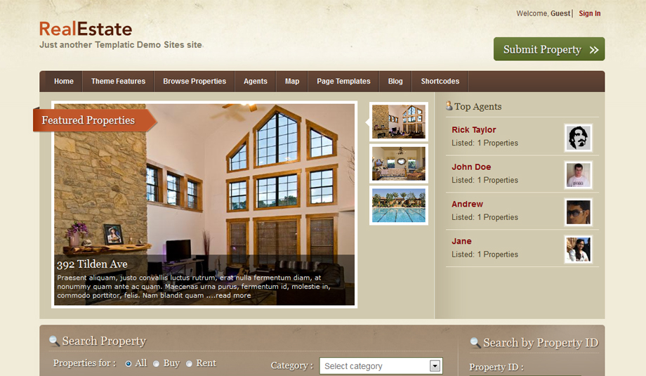 real estate 2 wordpress theme