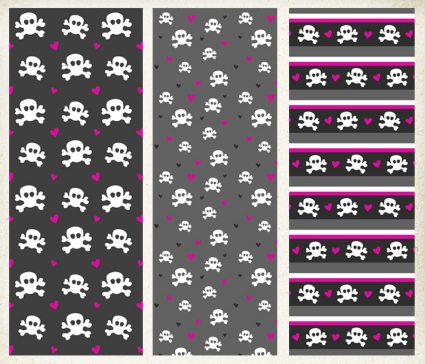 Skulls and Hearts Patterns
