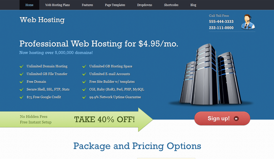 webhosting wordpres theme