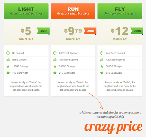 15 top free css3 pricing tables daily free web design for Best table design css