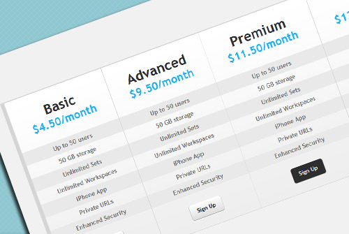 15 top free css3 pricing tables daily free web design for Table design css and html
